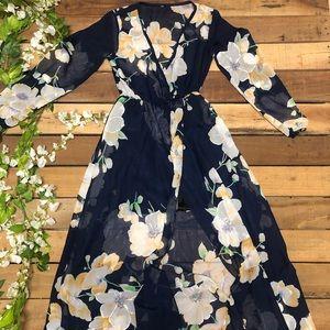 Long Sleeve Navy Floral Maxi Dress
